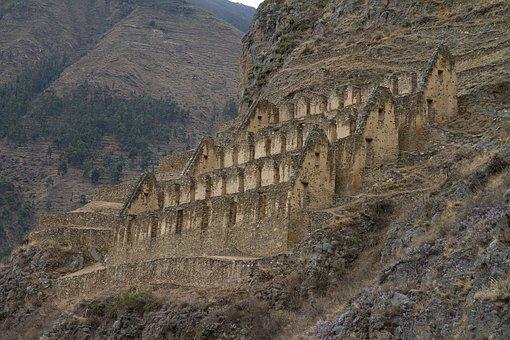 Peru, Ollantaytambo, Inca Ruins, Ancient, Mountain