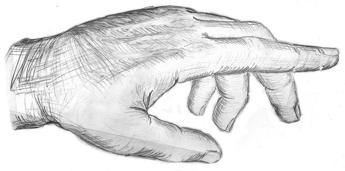 Hand, Showing, Index Finger, Thumb, Sketch, Drawing