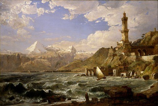 Jasper Cropsey, Mountains, Sea, Ocean, Water, Ships