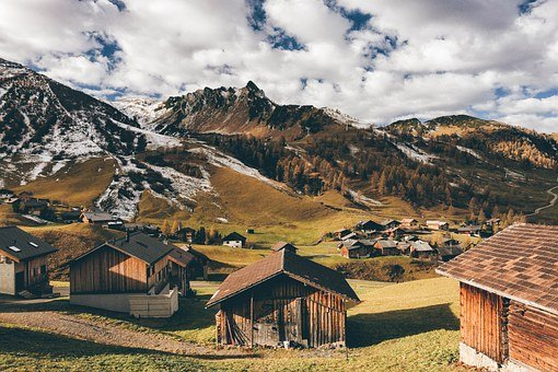 Nature, Mountains, Swiss, Clouds, Homes, Landscape