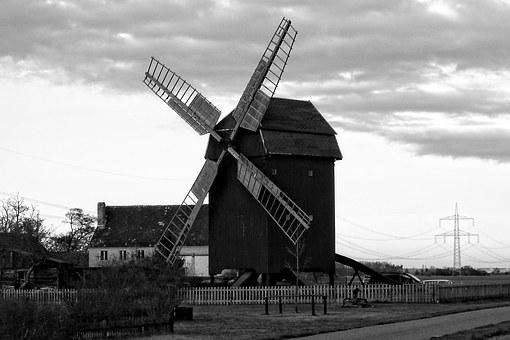 Post Mill, Clouds, Mill, Windmill, Old, Historically