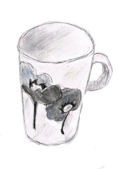 Drawing, Cup, Sketch, Paint, Image, Flowers