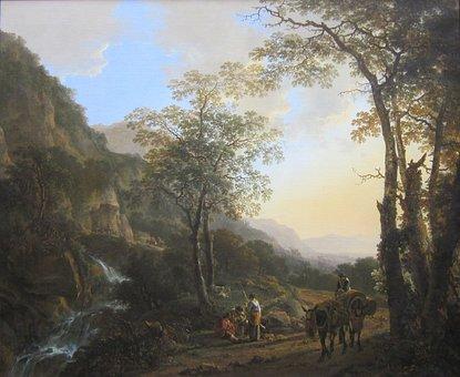 Jan Fluslandschaft, Mountains, People, Donkeys, Art