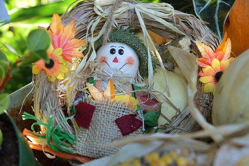 Scarecrow, Wreath, Decoration, Autumn, Fall, Harvest