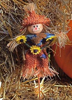 Scarecrow, Autumn, Fall, Hay, Decoration, Straw