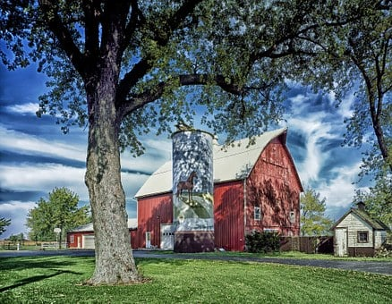 Farm, Barn, Rural, Illinois, Landscape, Scenic, Silo
