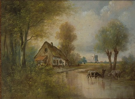 Paul Schouten, Stream, Water, Reflections, House