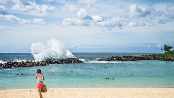 Lagoon, Rocks, Waves, Ko Olina, Oahu, Hawaii, Water