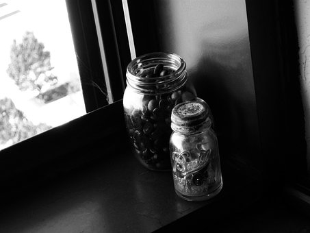 Jars, Glass, Coffee Beans, Whole Bean, Coffee, Window