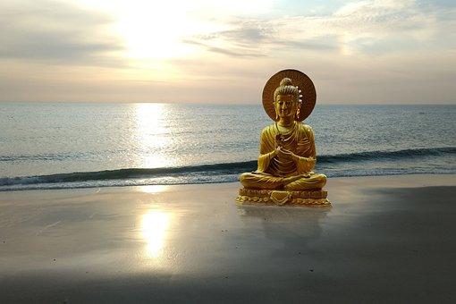 Buddha, Beach, Sunset, Fantasy, Sand, Statue, Sea