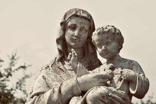 Statue, Sculpture, Holy Virgin Mary, Child Jesus