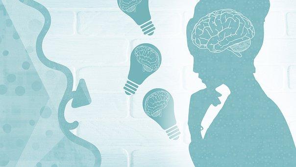 Woman, Brain, Light Bulb, Lady, Cyan, Idea Generation