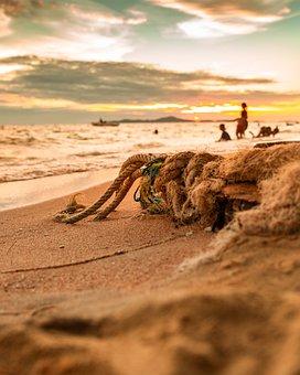Thailand, Pattaya, Rope, Sea, Seaside, Seashore, Ocean