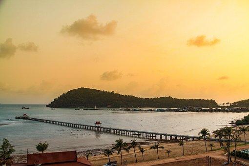 Thailand, Koh Chang, Pier, Sea, Seaside, Seashore