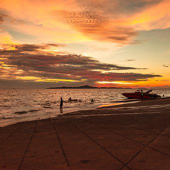 Thailand, Pattaya, Boat, Sea, Seaside, Seashore, Ocean
