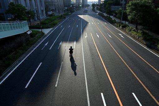 Road, City, Motorcycle, Morning, Sunlight, Motorbike