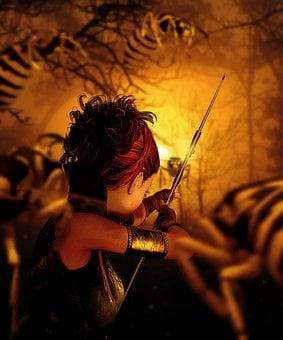 Woman, Warrior, Archer, Arch, Arrow, Weapon, Forest