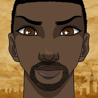 Man, Face, Afro-american, African, Black Skin, Serious