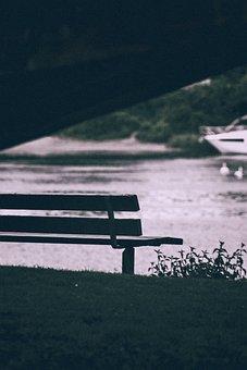 Bench, Bank, Seat, Lake, Spring, Sunset, Relaxation