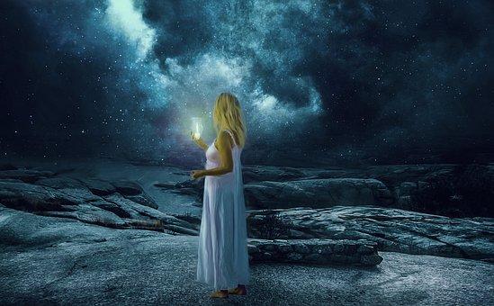 Woman, Candle, Lamp, Blonde, Long Hair, Stars, Rocks