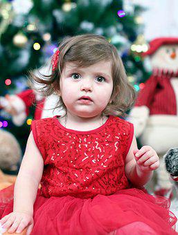 Baby, Girl, Christmas, New Year's Eve, Red Dress, Dress