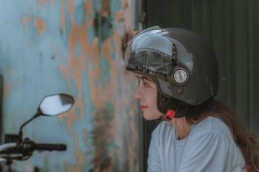 Helmet, Biker, Woman, Portrait, Rider, Girl, Profile