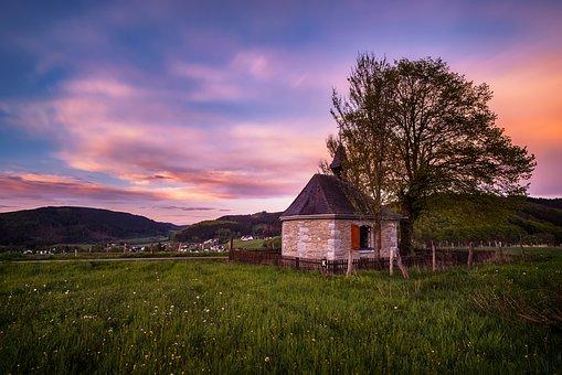 Sunset, Chapel, Grass, Meadow, Tree, Mountains, Hills