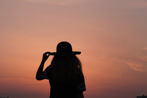 Sun, Shadow, Hat, Evening, Dark, Black, Orange, Light