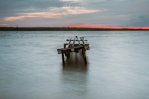 Lake, Bridge, Rocks, Stones, Horizon, Silence