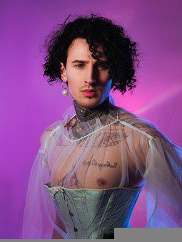 Guy, Portrait, Corset, Man, Young, Tattoos, Curls