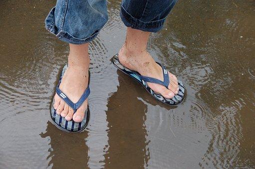 Feet, Rain, Wet, Water, Rainy Weather, Rainy, Puddle