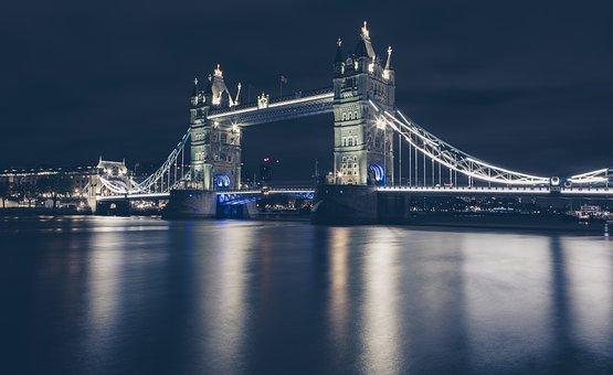 Tower Bridge, River, Night, Lights, Reflection, Water