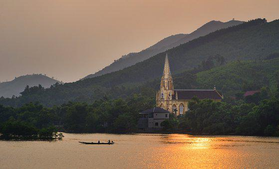 Church, River, Sunset, Mountains, Travel, Countryside