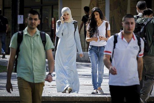 People, Students, Walk, Street, Muslim, Girls, Women