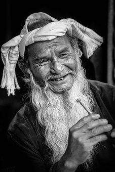 Old Man, Smile, Portrait, Monochrome, Vietnamese, Beard
