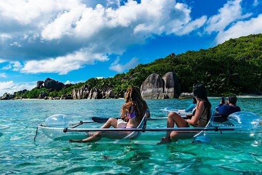 Ocean, Girls, Island, Seashells, Seascape, Coast, Sand
