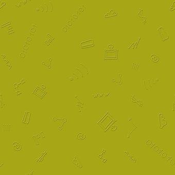Computer, Doodle, Green, Pattern, Embossed, Finance