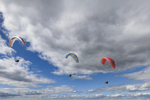 Clouds, Paragliding, Sky, Parachute, Sport, Flying