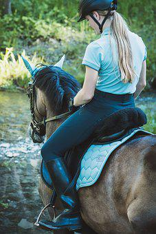 Horsewoman, Horse, Pony, Woman, Girl, Water, Bach, Ride
