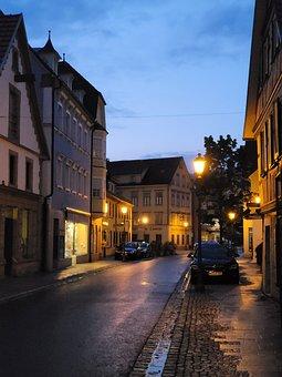 Road, Asphalt, Sidewalk, Rain, Houses, Village