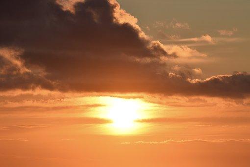 Sunset, Sun, Sea, Warm Colors, Your Orange, Cloudy Sky