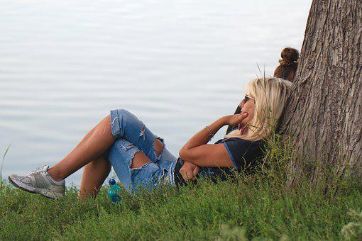 Woman, Park, Lake, Rest, Relaxation, Leisure, Vacation