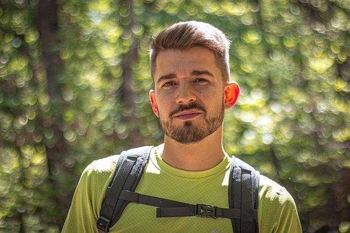Man, Hiker, Portrait, Face, Smile, Pose, Backpack