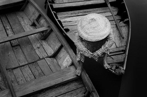 Boatman, Boat, Sad, Conical Hat, Monochrome, Vietnamese