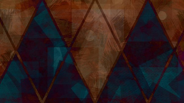 Rhomboid, Geometric, Pattern, Abstract, Brown, Blue