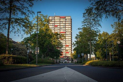 Street, Asphalt, Building, City, Apartment Block, Flat