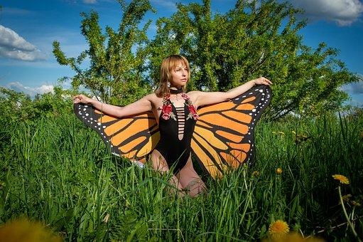 Woman, Costume, Butterfly, Wings, Butterfly Wings