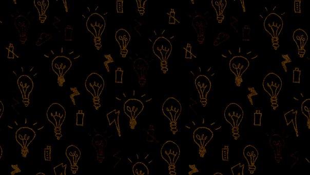 Light Bulb, Lightning, Doodle, Battery, Black, Brown