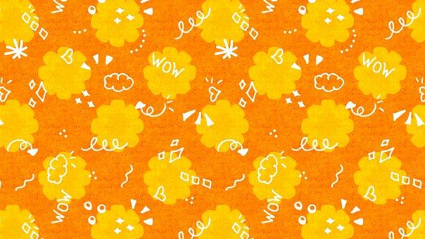 Happy, Doodle, Orange, Yellow, Pattern, Flower, Glow