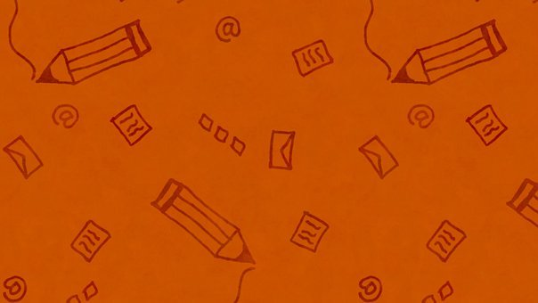 Letters, Doodle, Orange, Pencil, Envelope, Email, Mail